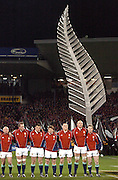 The Lions line up for the anthems during the first test between the All Blacks and the British and Irish Lions at Jade Stadium, Christchurch, New Zealand, on Saturday 25 June, 2005. The All Blacks won the match 21-3. Photo: Fotosport/PHOTOSPORT. **NZ USE ONLY**<br />
