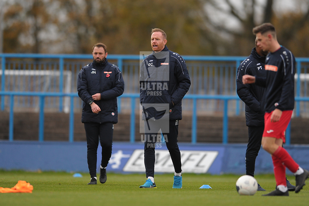 TELFORD COPYRIGHT MIKE SHERIDAN Gavin Cowan during the Vanarama National League Conference North fixture between Curzon Asthon and AFC Telford United on Saturday, November 9, 2019.<br /> <br /> Picture credit: Mike Sheridan/Ultrapress<br /> <br /> MS201920-028