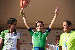 Ruth Winder (USA) earns the green jersey at Tour Cycliste Féminin International de l'Ardèche 2018 - Stage 7, a 90.9km road race from Chomerac to Privas, France on September 18, 2018. Photo by Sean Robinson/velofocus.com