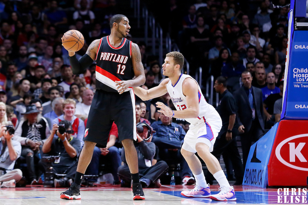 08 November 2014: Los Angeles Clippers forward Blake Griffin (32) defends on Portland Trail Blazers forward LaMarcus Aldridge (12) during the Los Angeles Clippers 106-102 victory over the Portland Trail Blazers, at the Staples Center, Los Angeles, California, USA.