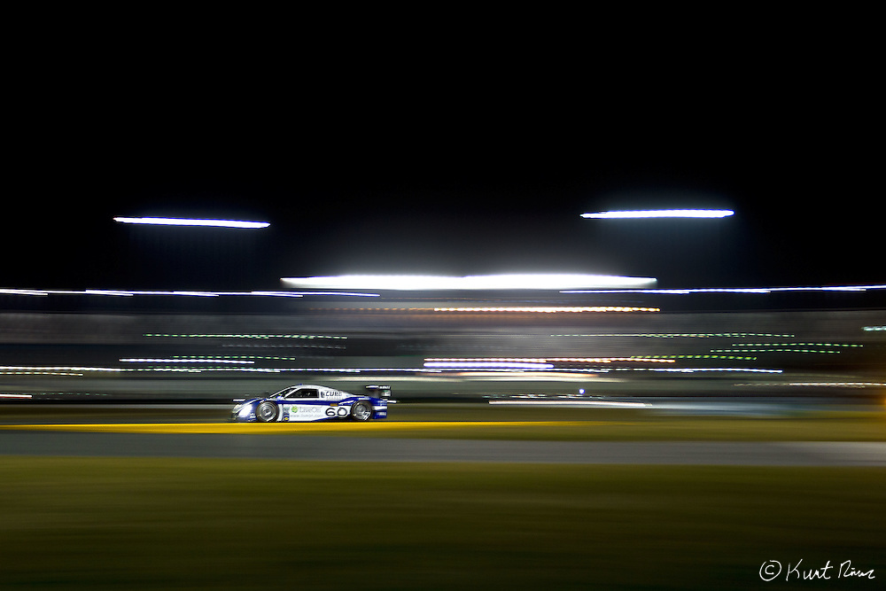 The No. 60 Michael Shank Racing Curb-Agajanian Ford Riley car at night during the Rolex 24 Hour Race at Daytona International Speedway in Daytona Beach, FL on January 28, 2012.