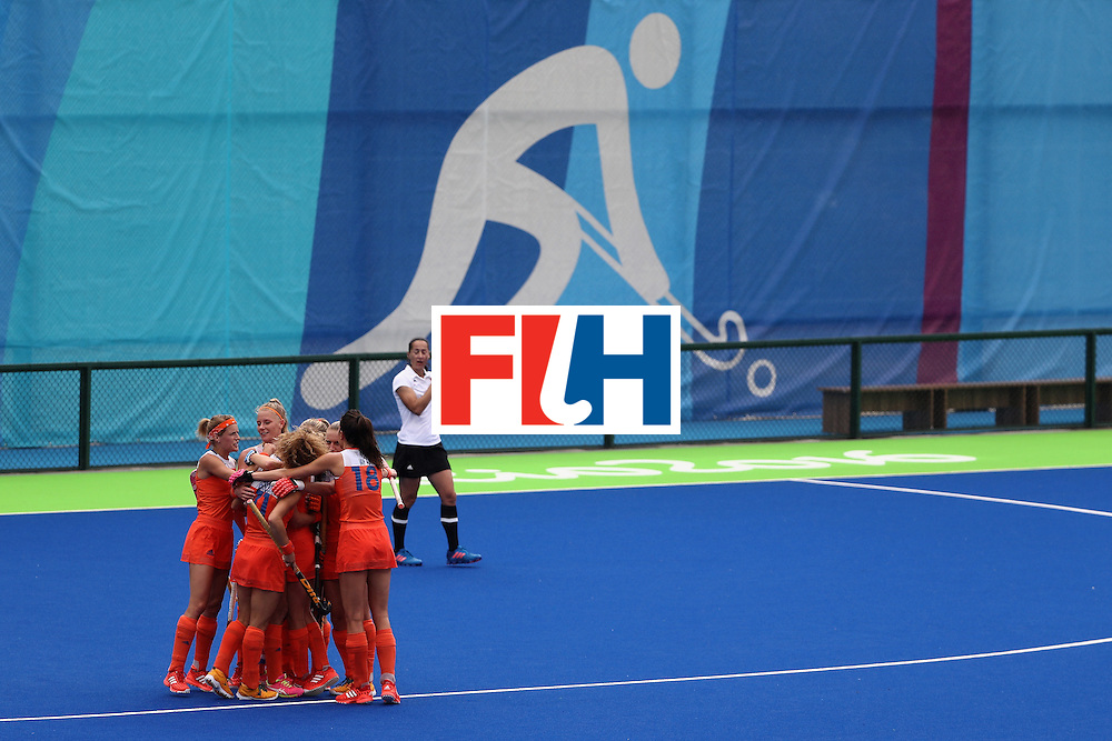 RIO DE JANEIRO, BRAZIL - AUGUST 12:  Team Netherlands react to scoring a goal against New Zealand during a Women's Preliminary Pool A match on Day 7 of the Rio 2016 Olympic Games at the Olympic Hockey Centre on August 12, 2016 in Rio de Janeiro, Brazil.  (Photo by Sean Haffey/Getty Images)
