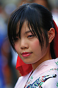 Thailand, Bangkok, portrait of young thai woman in traditional dress