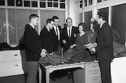 New Zealand Rugby players select materials at St Patricks woolen mills, Andrew Street, Cork, Ireland, 22nd January, 1964,.22.1.1964, 1.22.1964,.