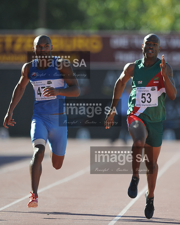 STELLENBOSCH, South Africa - Saturday 13 April 2013, Roscoe Engel (477) and Simon Magakwe (53) battle it out in the mens 200m final during day 2 of the South African Senior Athletics championships at the University of Stellenbosch's Coetzenburg stadium.Photo by Roger Sedres/ ImageSA