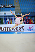 Hayakawa Sakura during qualifying at ball in Pesaro World Cup 26 April 2013. Sakura is a Japan rhythmic gymnastics athlete born March 17, 1997 in Osaka, Japan. She appeared in Senior competitions in the 2013 season.