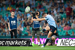 March 9, 2019 - Sydney, NSW, U.S. - SYDNEY, NSW - MARCH 09: Waratahs player Bernard Foley (10) kicks for goal at round 4 of Super Rugby between NSW Waratahs and Queensland Reds on March 09, 2019 at The Sydney Cricket Ground, NSW. (Photo by Speed Media/Icon Sportswire) (Credit Image: © Speed Media/Icon SMI via ZUMA Press)