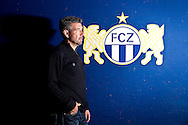 FC Zurich's soccer head coach Urs FISCHER of Switzerland poses in front of the club logo during a photo session in Zurich, Switzerland, Saturday, Oct. 2, 2010. (Photo by Patrick B. Kraemer / MAGICPBK)