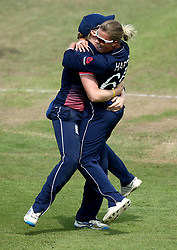 Alex Hartley of England Women celebrates taking the wicket of Beth Mooney of Australia Women - Mandatory by-line: Robbie Stephenson/JMP - 09/07/2017 - CRICKET - Bristol County Ground - Bristol, United Kingdom - England v Australia - ICC Women's World Cup match 19