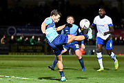 Wycombe Wanderers striker Scott Kashket (11) `try to get a shot away during the The FA Cup match between Wycombe Wanderers and Tranmere Rovers at Adams Park, High Wycombe, England on 20 November 2019.
