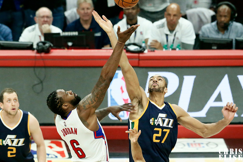 15 April 2017: Jump ball between LA Clippers center DeAndre Jordan (6) and Utah Jazz center Rudy Gobert (27) during the Utah Jazz 97-95 victory over the Los Angeles Clippers, during game 1 of the first round of the Western Conference playoffs, at the Staples Center, Los Angeles, California, USA.