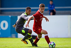 NUNEATON, ENGLAND - Sunday, July 30, 2017: Liverpool's Cameron Brannagan and PSV Eindhoven's Jurich Carolina during a pre-season friendly between Liverpool and PSV Eindhoven at the Liberty Way Stadium. (Pic by Paul Greenwood/Propaganda)
