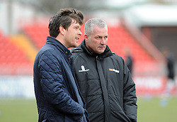 Bristol Rovers Manager, Darrell Clarke and Gateshead Manager, Gary Mills - Photo mandatory by-line: Neil Brookman/JMP - Mobile: 07966 386802 - 28/02/2015 - SPORT - Football - Gateshead - Gateshead International Stadium - Gateshead v Bristol Rovers - Vanarama Football Conference