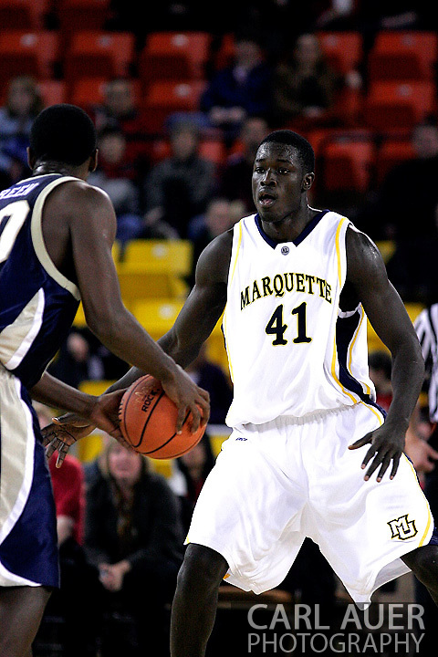 25 November 2005: Golden Eagle Ousmane Barro (41) sets up on defense in the Marquette University 73-70 victory over Oral Roberts University at the Great Alaska Shootout in Anchorage, Alaska