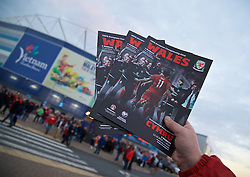CARDIFF, WALES - Tuesday, October 13, 2015: The Wales matchday programme on sale before the UEFA Euro 2016 qualifying Group B match against Andorra at the Cardiff City Stadium. (Pic by Paul Currie/Propaganda)