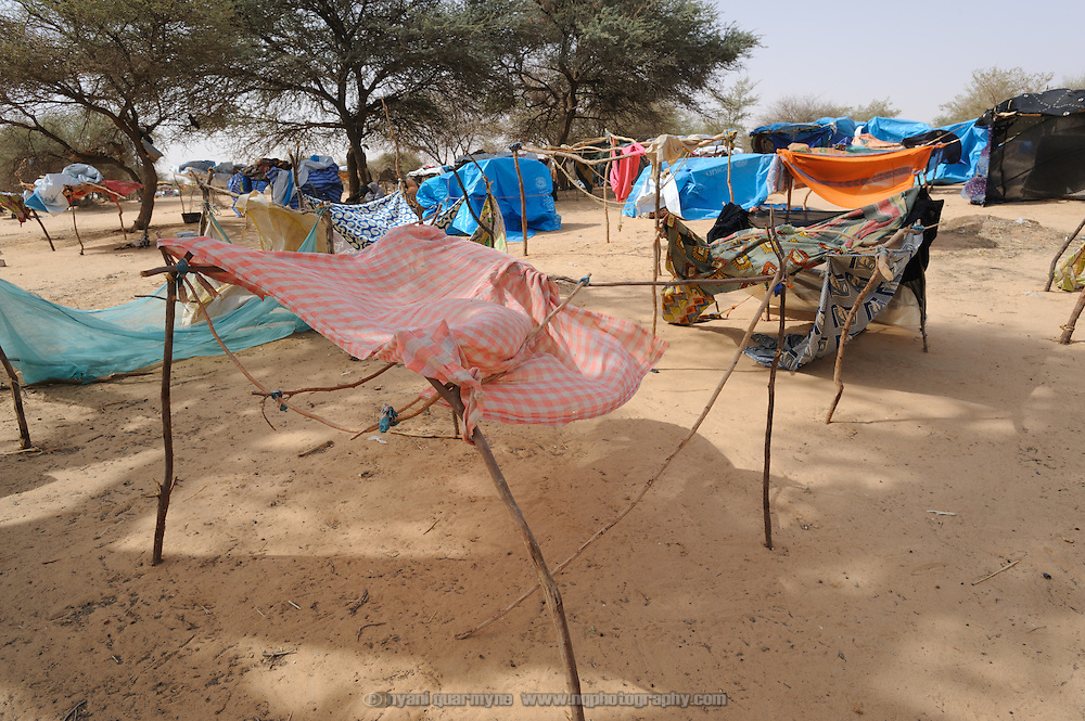 Residents' shelters at a refugee camp in Mangaize in the Tillaberi region of Niger.