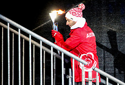 18.03.2017, Planai-Stadion, Schladming, AUT, Special Olympics 2017, Wintergames, Eröffnungsfeier, im Bild Athlet Siegfried Mayr (AUT) beim Entzünden des Olympischen Feuers // Siegfried Mayr of Austria lights the Olympic flame during the opening ceremony in the Planai Stadium at the Special Olympics World Winter Games Austria 2017 in Schladming, Austria on 2017/03/17. EXPA Pictures © 2017, PhotoCredit: EXPA / Martin Huber