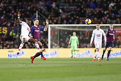 January 13, 2019 - Barcelona, Catalonia, Spain - FC Barcelona midfielder Ivan Rakitic (4) and SD Eibar midfielder Papakouli Diop (8) during the match FC Barcelona against Eibar, for the round 19 of the Liga Santander, played at Camp Nou  on 13th January 2019 in Barcelona, Spain. (Credit Image: © Mikel Trigueros/NurPhoto via ZUMA Press)