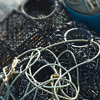 Crabbing nets with tangled rope at Brighton beach England