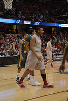 Ohio State forward Jared Sullinger (0) celebrates after throwing down a two-handed slam in OSU's 98-66 win against George Mason in the third round of the NCAA Tournament on March 20, 2011, in Cleveland.
