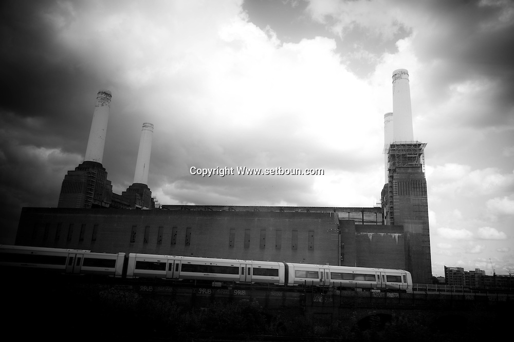 London. UK - battersea power station, image  on the cobver of the pink floyd record animals