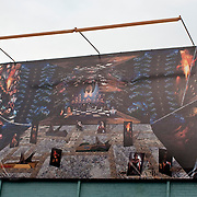 After the charging ritual of the foot print image, Zoogalocka Palace maze was transported to a billboard where it was installed for one year following the ArtLab installation component.