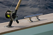 Light tackle conventional reel next to covering board cleat.
