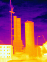 April 24, 2017 - Thermal photograph of skyscrapers and construction crane, London, UK (Credit Image: © Image Source via ZUMA Press)