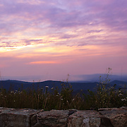 """""""Stone Wall Sunset"""" 2<br /> <br /> Summer sunset in the Blue Ridge Mountains along Skyline Drive.<br /> <br /> The Blue Ridge Mountains by Rachel Cohen"""