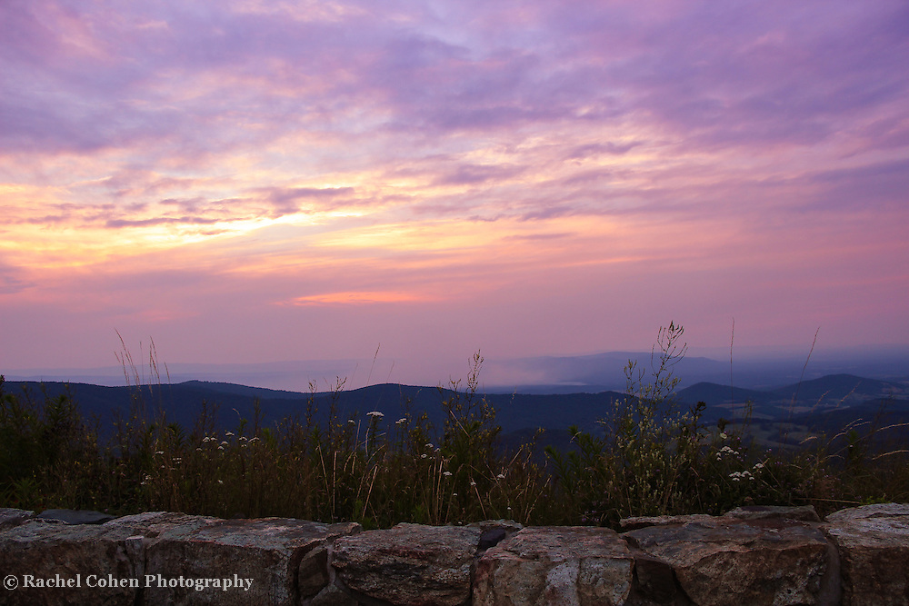 &quot;Stone Wall Sunset&quot; 2<br /> <br /> Summer sunset in the Blue Ridge Mountains along Skyline Drive.<br /> <br /> The Blue Ridge Mountains by Rachel Cohen