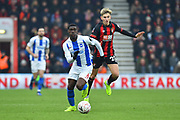Yves Bissouma (8) of Brighton and Hove Albion on the attack chased by David Brooks (20) of AFC Bournemouth during the The FA Cup 3rd round match between Bournemouth and Brighton and Hove Albion at the Vitality Stadium, Bournemouth, England on 5 January 2019.