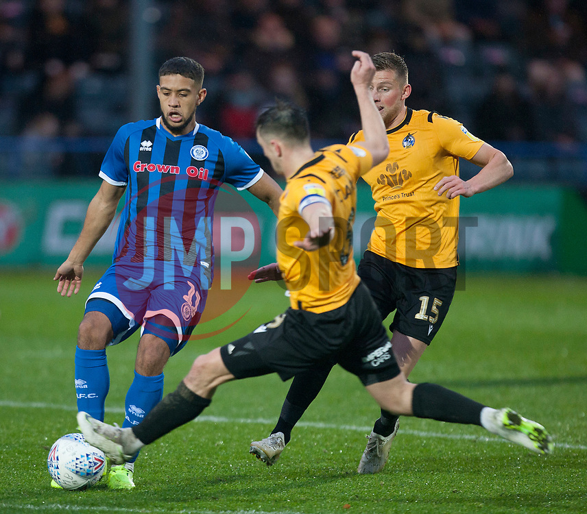 Ollie Clarke of Bristol Rovers (C) tackles Rekeil Pyke of Rochdale (L) - Mandatory by-line: Jack Phillips/JMP - 02/11/2019 - FOOTBALL - Crown Oil Arena - Rochdale, England - Rochdale v Bristol Rovers - English Football League One