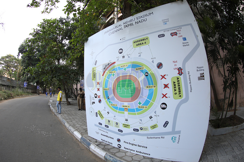 Sign board of Chennai stadium during match 41 of the Hero Indian Super League between Chennaiyin FC and Delhi Dynamos FC   held at the Jawaharlal Nehru Stadium, Chennai India on the 7th January 2018<br /> <br /> Photo by: Arjun Singh  / ISL / SPORTZPICS