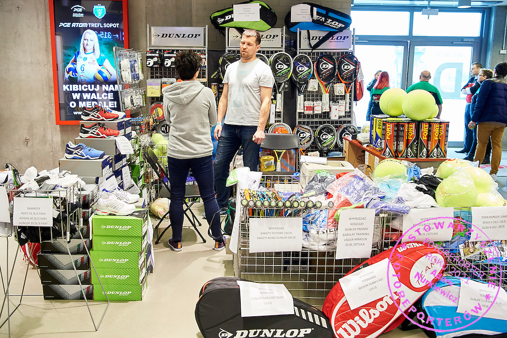 GDANSK, POLAND - 2016 MARCH 06: Dunlop   commercial stand during the Davis Cup / World Group 1st round tennis match between Poland and Argentina at Ergo Arena on March 6, 2016 in Gdansk, Poland<br /> <br /> Picture also available in RAW (NEF) or TIFF format on special request.<br /> <br /> Any editorial, commercial or promotional use requires written permission.<br /> <br /> Mandatory credit:<br /> Photo by &copy; Adam Nurkiewicz / Mediasport