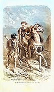 Machine colorized (AI) image Bronze Age warriors according to the French illustrator Emile Bayard (1837-1891), illustration Artwork published in Primitive Man by Louis Figuier (1819-1894), Published in London by Chapman and Hall 193 Piccadilly in 1870