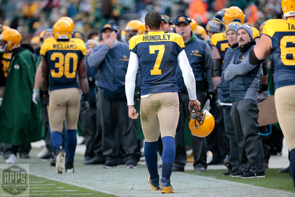 Green Bay Packers quarterback Brett Hundley (7) walks off the field after throwing an interception late in the 4th quarter. <br /> The Green Bay Packers hosted the Baltimore Ravens at Lambeau Field Sunday, Nov. 19, 2017. The Packers lost 23-0. STEVE APPS FOR THE STATE JOURNAL.