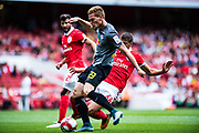 RB Leipzig Marcel Halstenberg (23) score a goal  during the Emirates Cup 2017 match between Leipzig and Benfica at the Emirates Stadium, London, England on 30 July 2017. Photo by Sebastian Frej.