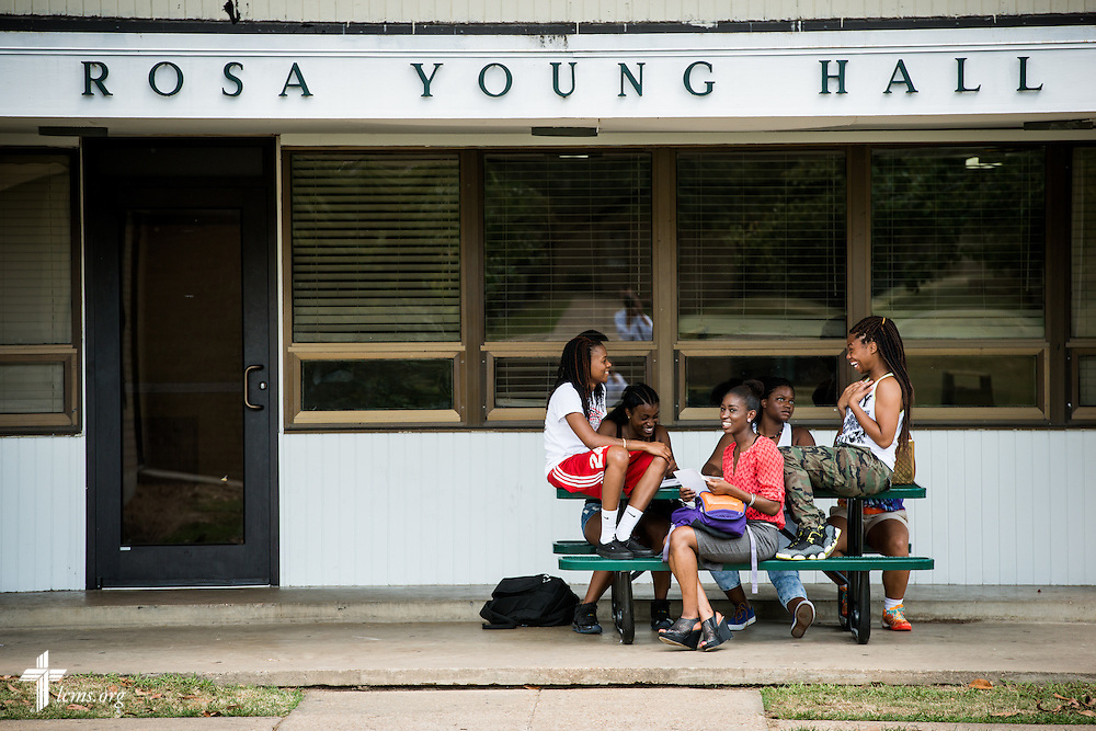 Friends gather to study on the campus of Concordia College Alabama on Wednesday, August 20, 2014, in Selma, Ala.  LCMS Communications/Erik M. Lunsford
