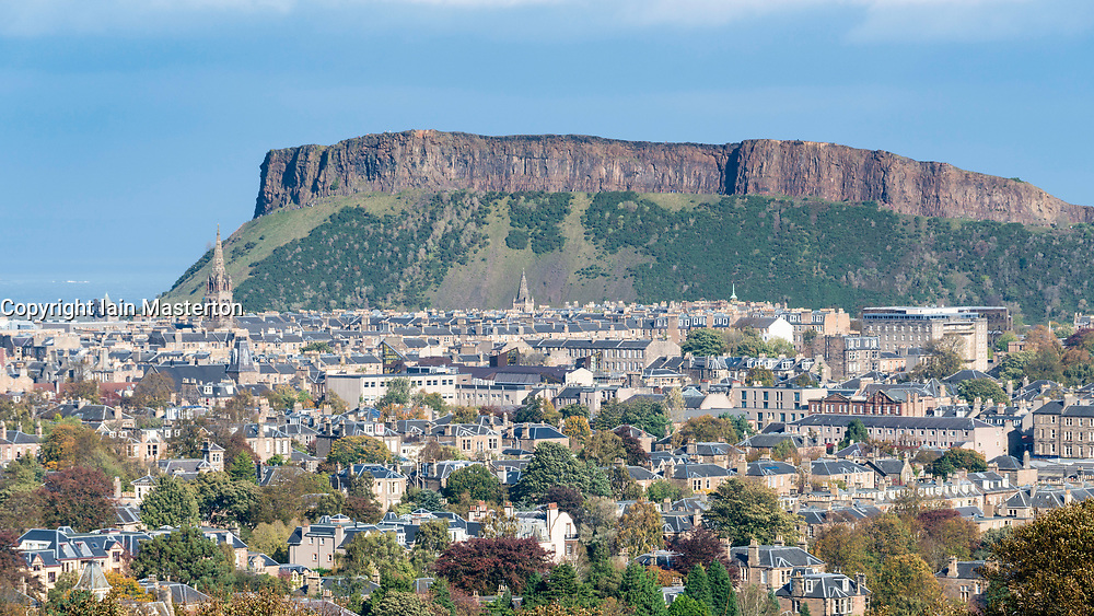View of Salisbury Crags overlooking Edinburgh, Scotland, United Kingdom