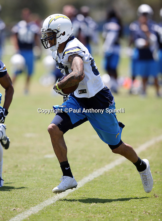 San Diego Chargers wide receiver Austin Pettis (82) runs with the ball during the San Diego Chargers Spring 2015 NFL minicamp practice on Wednesday, June 17, 2015 in San Diego. (©Paul Anthony Spinelli)