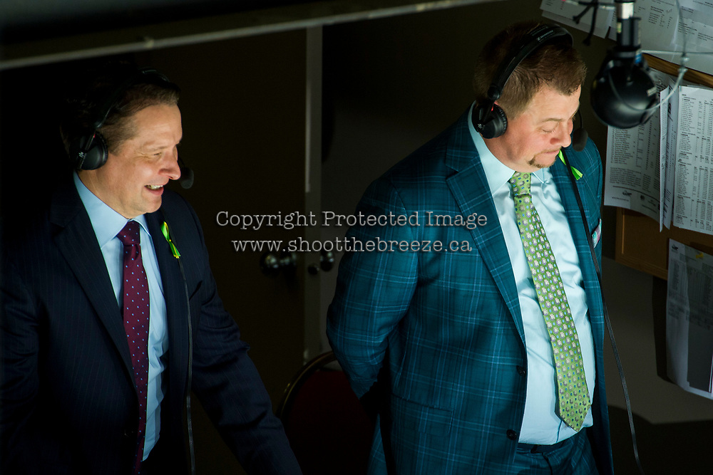 REGINA, SK - MAY 25: RJ Broadhead and Sam Costentino stand in the broadcast booth above the ice at the Regina Pats against the Hamilton Bulldogs at the Brandt Centre on May 25, 2018 in Regina, Canada. (Photo by Marissa Baecker/CHL Images)