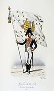 Guard with campaign colours,1815.    'Histoire de la maison militaire du Roi de 1814 a 1830' by Eugene Titeux, Paris, 1890.