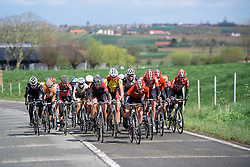 Lotto Soudal chase after missing out on the early break at Dwars door de Westhoek 2016. A 127km road race starting and finishing in Boezinge, Belgium on 24th April 2016.