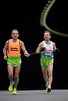 Sandi Novak SLO runs alongside his Guide Runner in the T12 Men World Para Athletics Marathon Championships. The Virgin Money London Marathon, 28 April 2019.<br /> <br /> Photo: Jon Buckle for Virgin Money London Marathon<br /> <br /> For further information: media@londonmarathonevents.co.uk