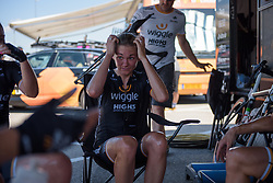 Claudia Hauesler recovers with her Wiggle High5 teammates on Stage 4 of the Giro Rosa - a 118 km road race, starting and finishing in Occhiobello on July 3, 2017, in Rovigo, Italy. (Photo by Sean Robinson/Velofocus.com)
