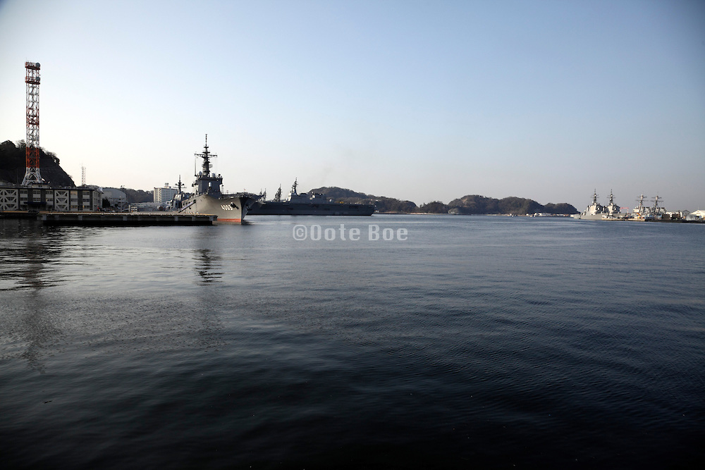 Japanese maritime self defense force ships in port Yokosuka