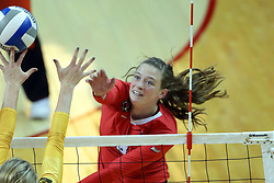 07 October 2017:  Ella Francis & Allison Ketcham during a college women's volleyball match between the Crusaders of Valparaiso and the Illinois State Redbirds at Redbird Arena in Normal IL (Photo by Alan Look)
