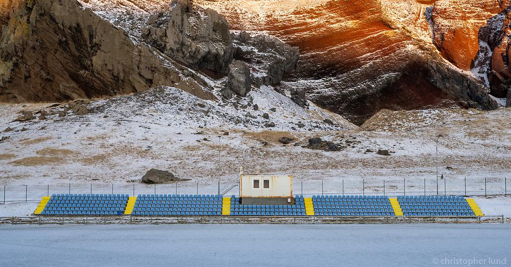 Football field and stands. Vestmannaeyjar islands, Iceland.