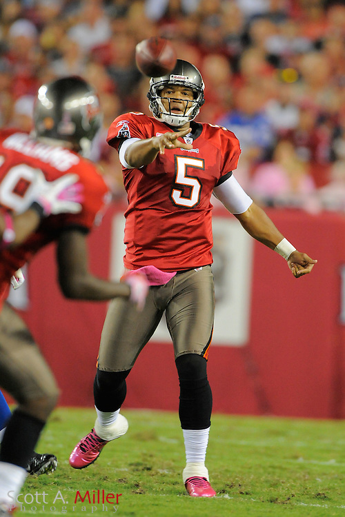 Tampa Bay Buccaneers quarterback Josh Freeman (5) in action during the Bucs 27-17 win over the Indianapolis Colts at Raymond James Stadium on Oct. 3, 2011 in Tampa, Fla. ..©2011 Scott A. Miller
