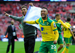 Norwich City's Nathan Redmond celebrates on the final whistle as Norwich City win promotion to the premier league  - Photo mandatory by-line: Joe Meredith/JMP - Mobile: 07966 386802 - 25/05/2015 - SPORT - Football - London - Wembley Stadium - Middlesbrough v Norwich - Sky Bet Championship - Play-Off Final